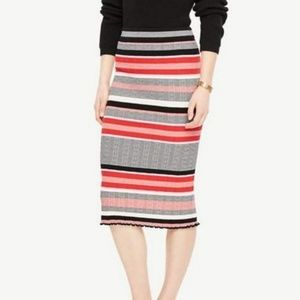 Ann Taylor // Striped Fitted Knit Midi Skirt